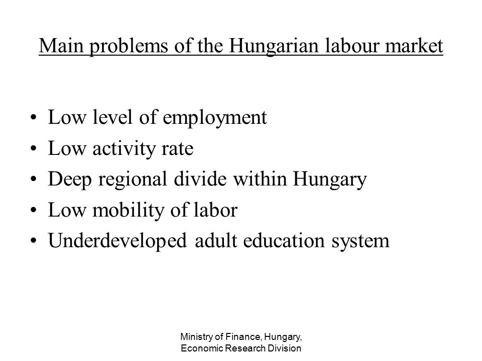 Ministry of Finance, Hungary, Economic Research Division Main problems of the Hungarian labour market Low level of employment Low activity rate Deep r