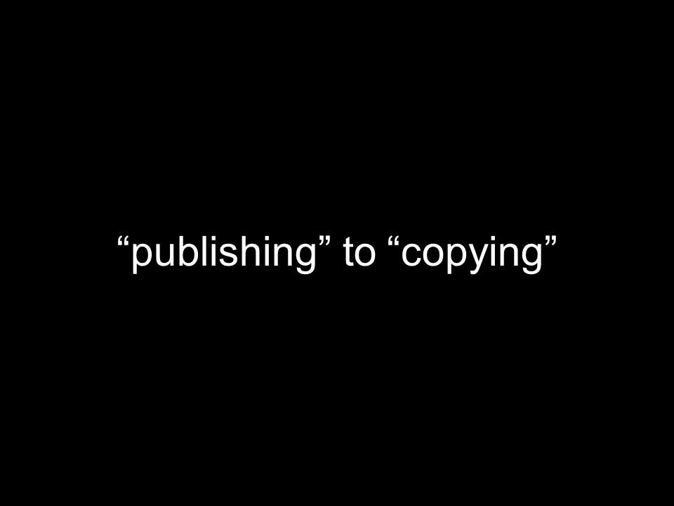 publishing to copying