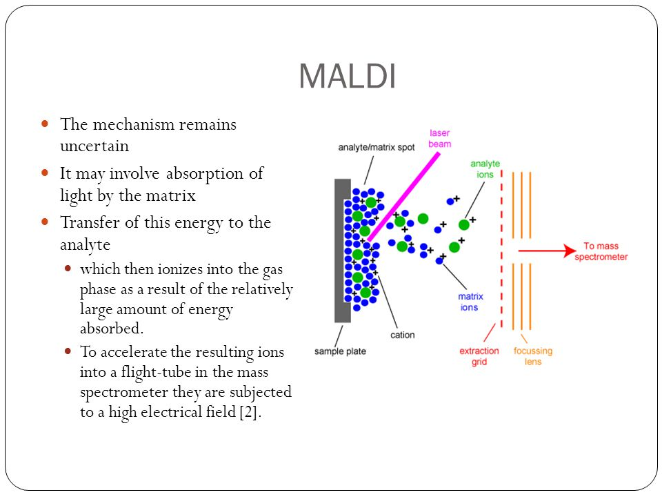 Time Mass Detectors The typical detector used with MALDI is the time of flight mass detector (TOF-MS) TOF is a method where the ions are accelerated by an electric field, resulting in ions of the same strength to have the same kinetic energy [7] The time it takes for each ion to traverse the flight tube and arrive at the detector is based on its mass-to-charge ratio; therefore the heavier ions have shorter arrival times compared to lighter ions http://www.kore.co.uk/mtof.htm