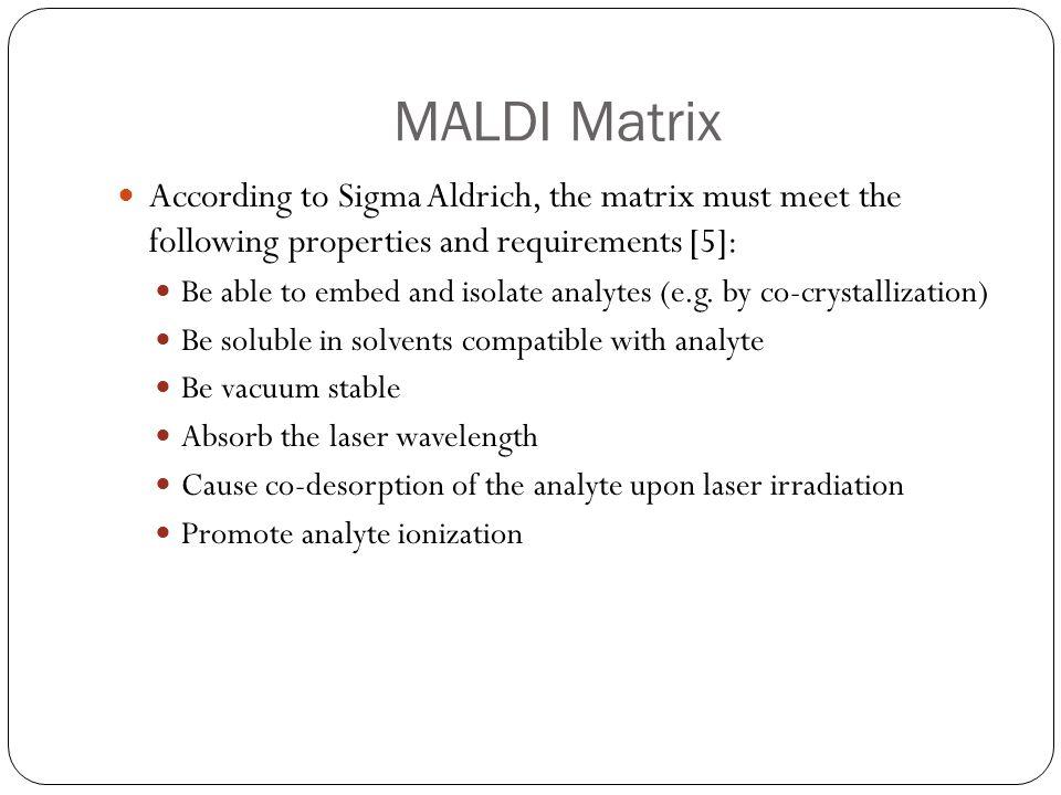 MALDI Matrix Reference 5
