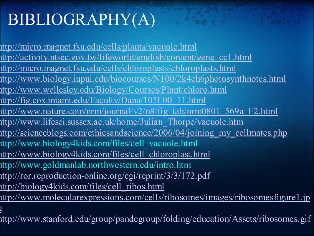 BIBLIOGRAPHY(A) http://micro.magnet.fsu.edu/cells/plants/vacuole.html http://activity.ntsec.gov.tw/lifeworld/english/content/gene_cc1.html http://micr