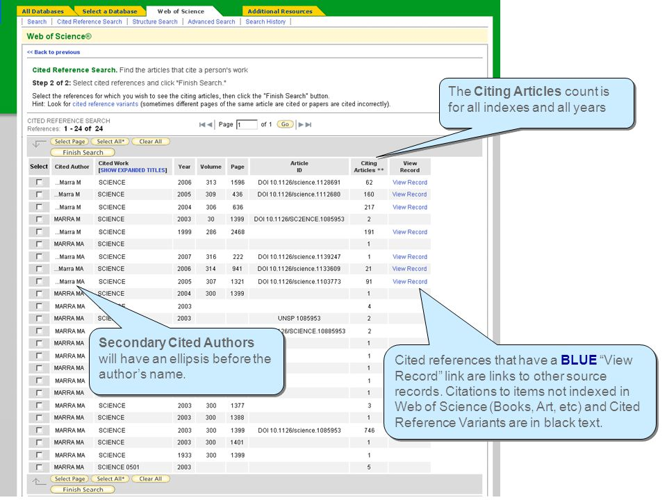 Cited Reference Look-up table Cited references that have a BLUE View Record link are links to other source records.