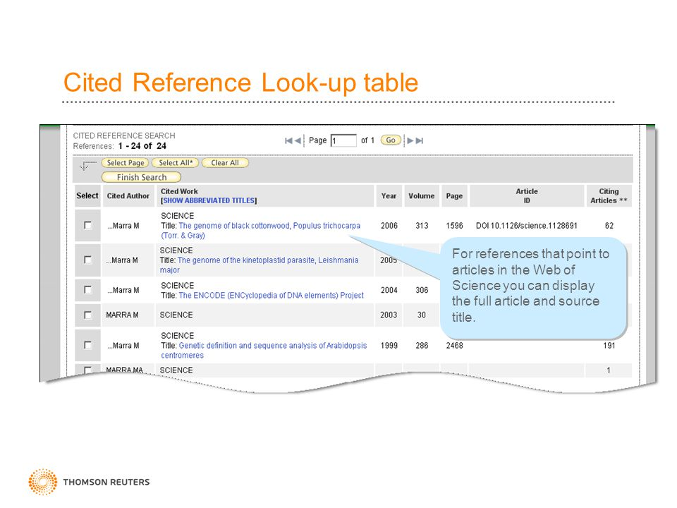 Cited Reference Look-up table For references that point to articles in the Web of Science you can display the full article and source title.