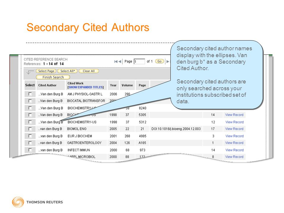 Secondary Cited Authors Secondary cited author names display with the ellipses. Van den burg b* as a Secondary Cited Author. Secondary cited authors a