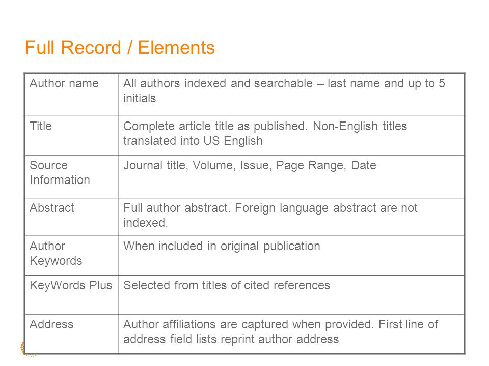 Full Record / Elements Author nameAll authors indexed and searchable – last name and up to 5 initials TitleComplete article title as published. Non-En