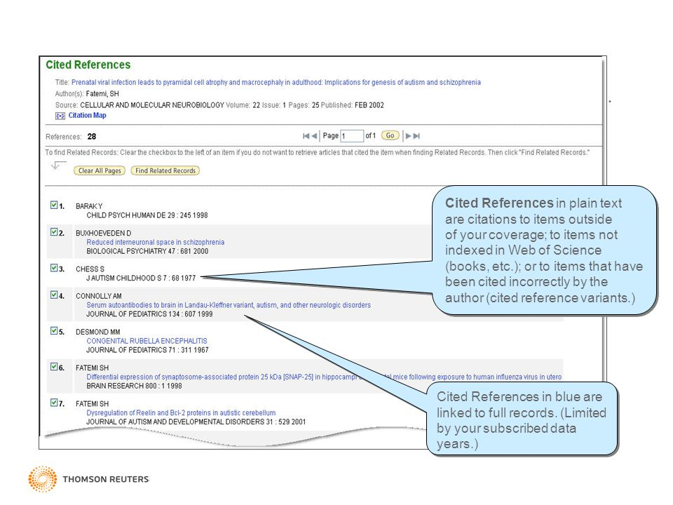Cited References Cited References in blue are linked to full records.