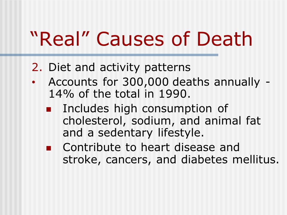 Real Causes of Death 2.Diet and activity patterns Accounts for 300,000 deaths annually - 14% of the total in 1990.