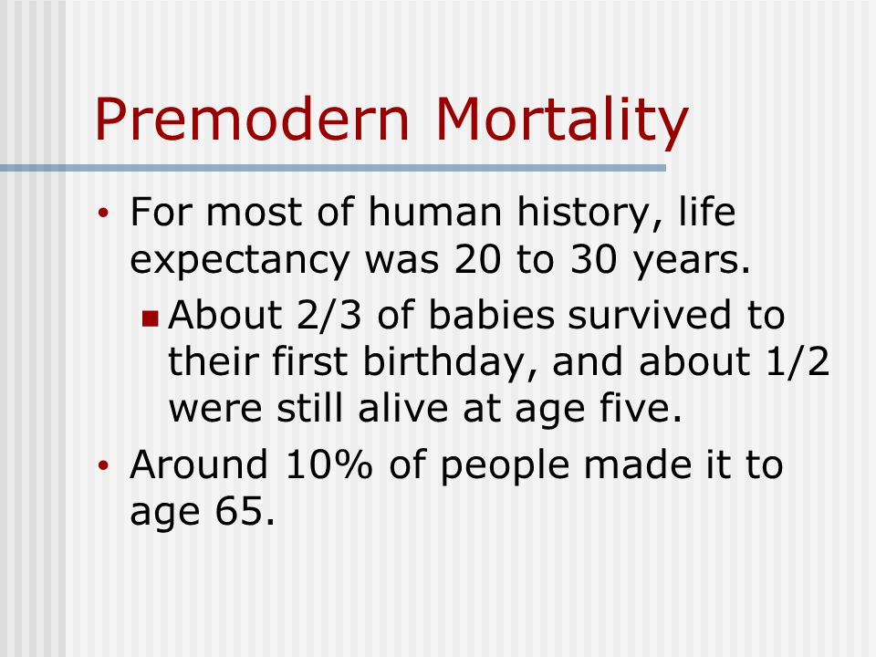 Premodern Mortality For most of human history, life expectancy was 20 to 30 years.