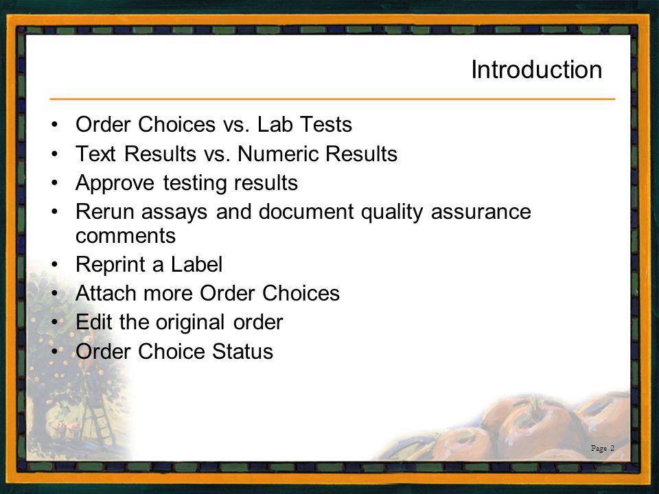 Page 43 Order Choice Status