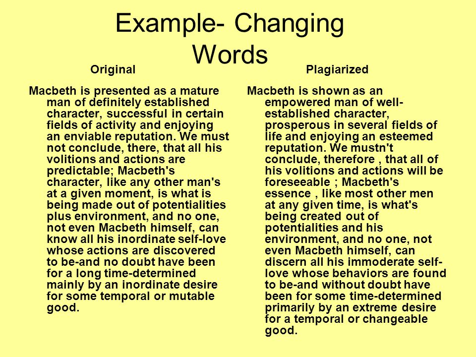 Example- Changing Words Macbeth is presented as a mature man of definitely established character, successful in certain fields of activity and enjoyin