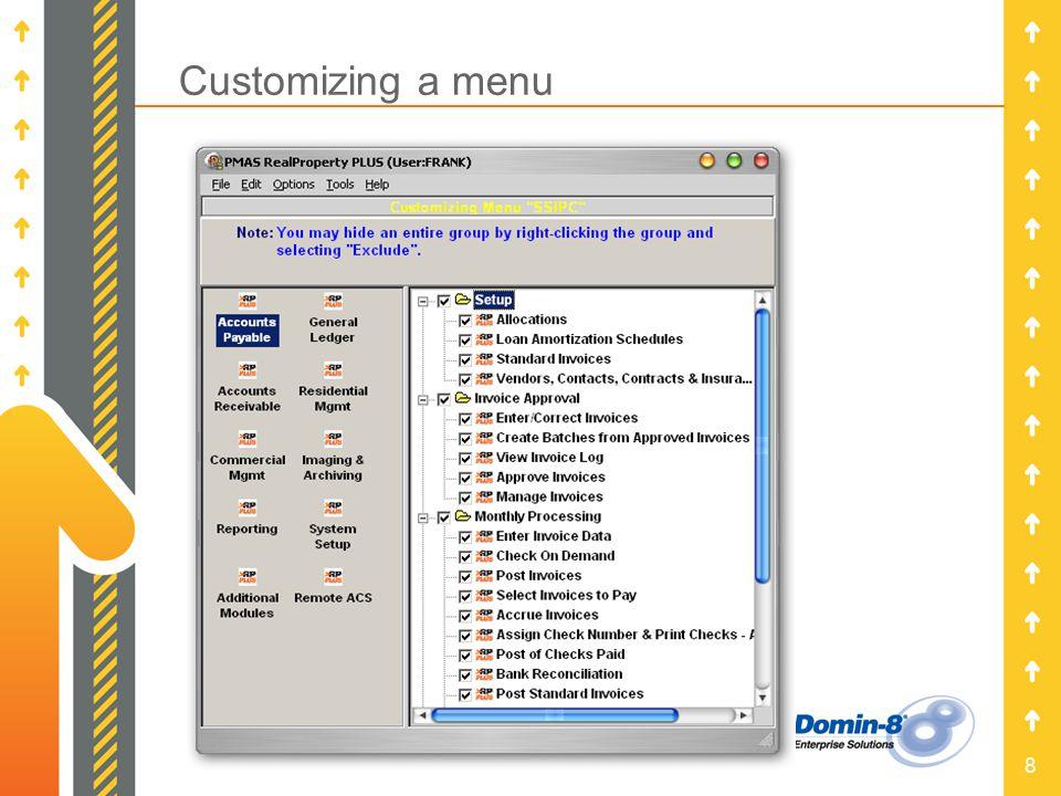 8 Customizing a menu