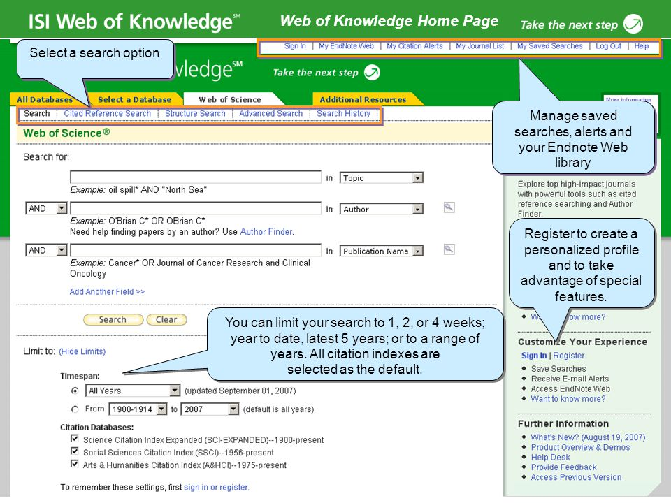 Copyright 2006 Thomson Corporation 15 Web of Knowledge Home Page Register to create a personalized profile and to take advantage of special features.
