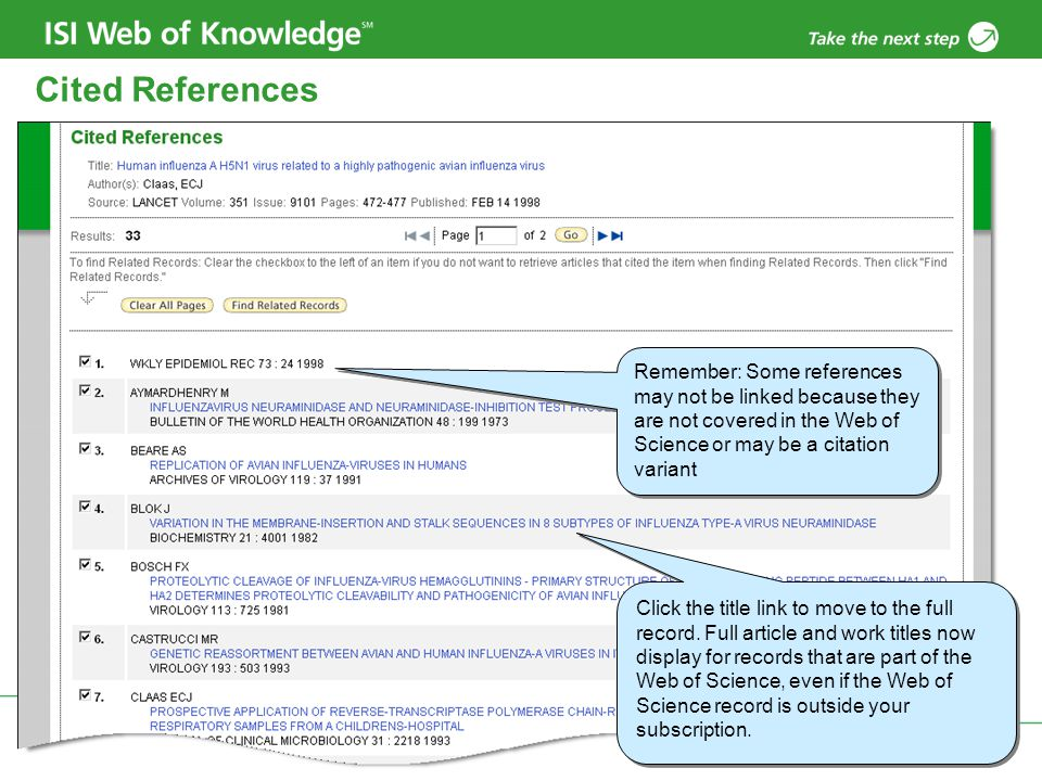 Copyright 2006 Thomson Corporation 23 Cited References Remember: Some references may not be linked because they are not covered in the Web of Science or may be a citation variant Click the title link to move to the full record.