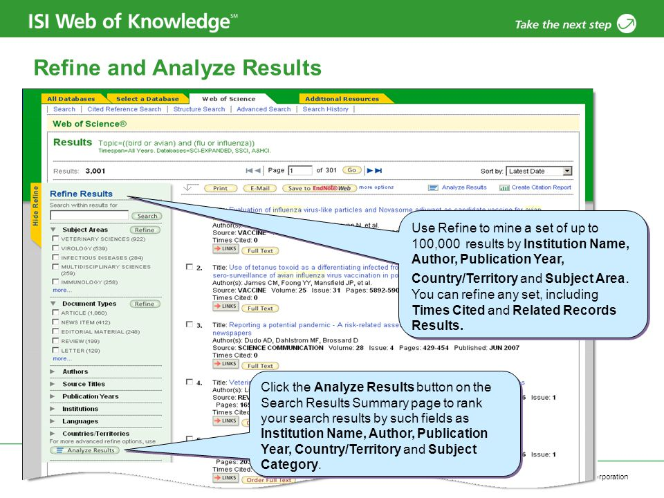 Copyright 2006 Thomson Corporation 28 Refine and Analyze Results Click the Analyze Results button on the Search Results Summary page to rank your search results by such fields as Institution Name, Author, Publication Year, Country/Territory and Subject Category.
