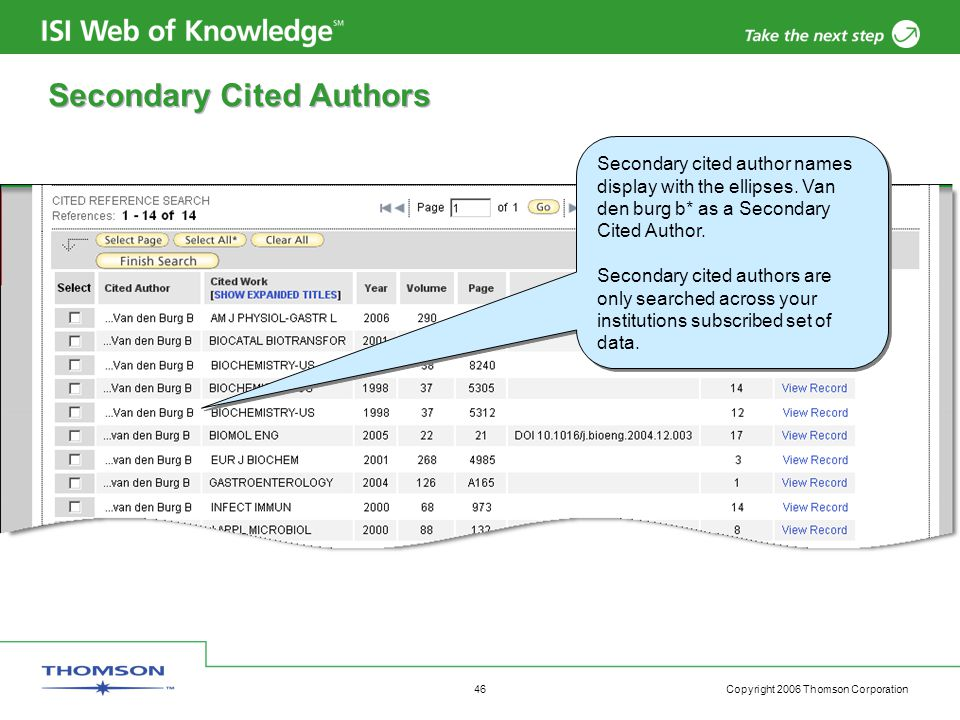 Copyright 2006 Thomson Corporation 46 Secondary Cited Authors Secondary cited author names display with the ellipses.