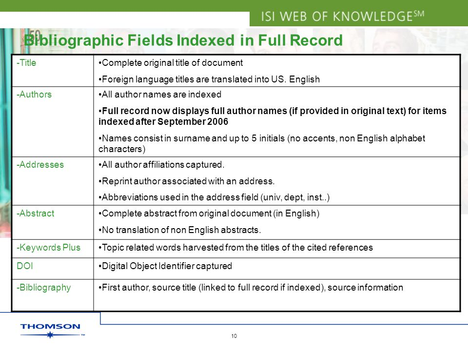 Copyright 2006 Thomson Corporation 10 Bibliographic Fields Indexed in Full Record -TitleComplete original title of document Foreign language titles are translated into US.