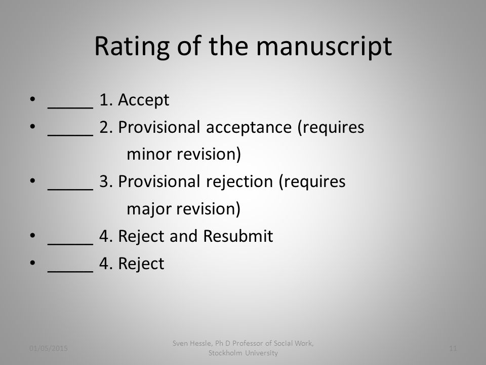 Rating of the manuscript _____ 1. Accept _____ 2.