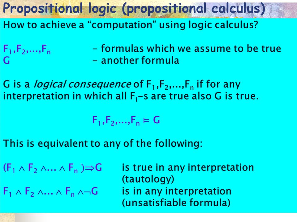 Propositional logic (propositional calculus)