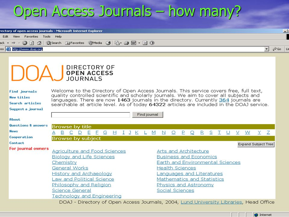 PRMES 22 Mar 2005 Open Access Journals – how many