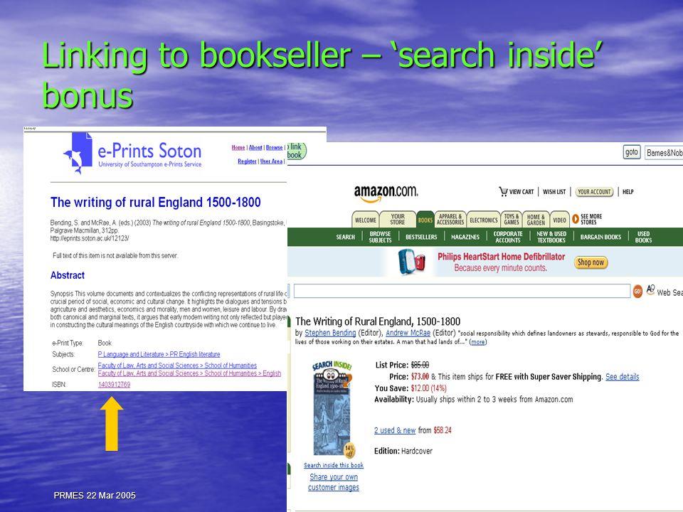 PRMES 22 Mar 2005 Linking to bookseller – 'search inside' bonus