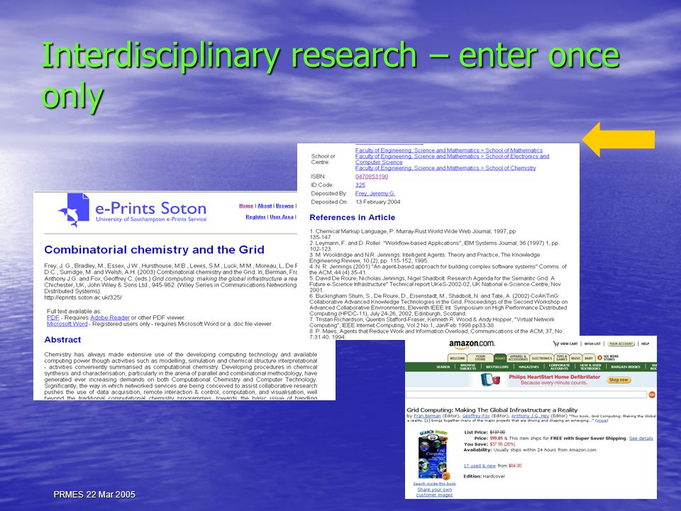 PRMES 22 Mar 2005 Interdisciplinary research – enter once only