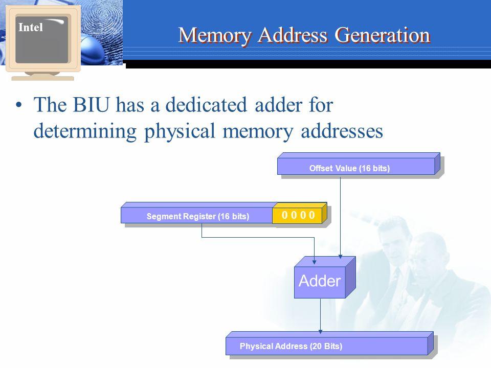 Memory Address Generation The BIU has a dedicated adder for determining physical memory addresses Intel Physical Address (20 Bits) Adder Segment Regis