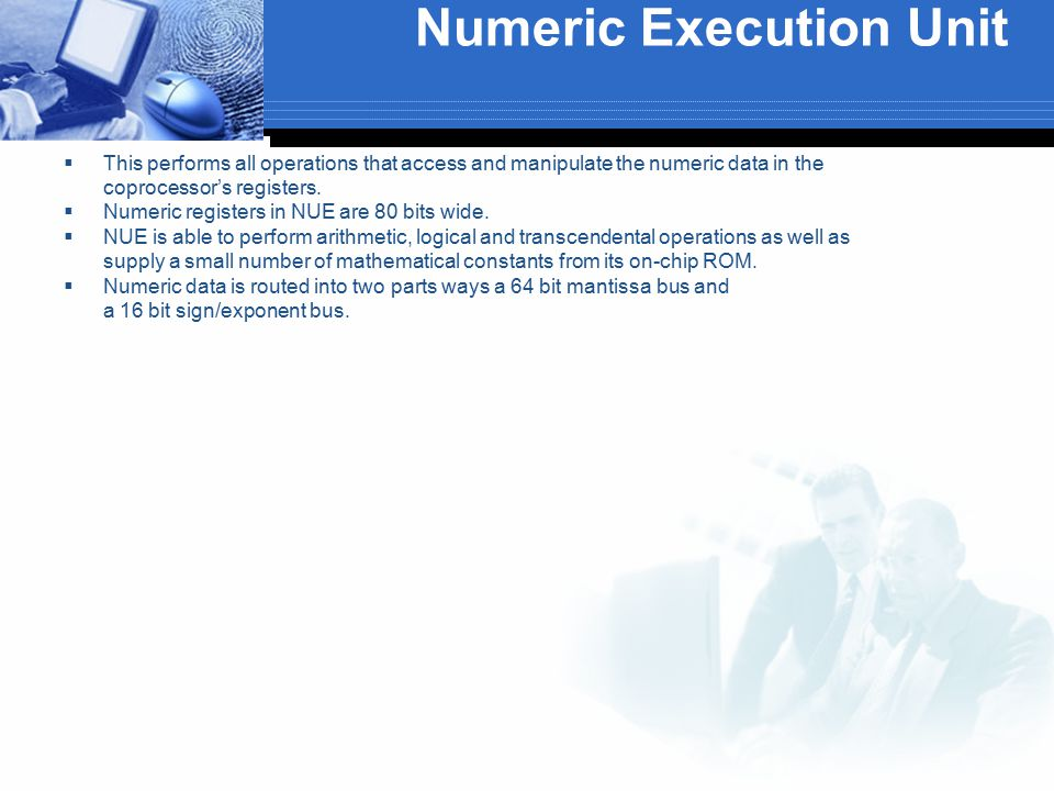 Numeric Execution Unit  This performs all operations that access and manipulate the numeric data in the coprocessor's registers.  Numeric registers