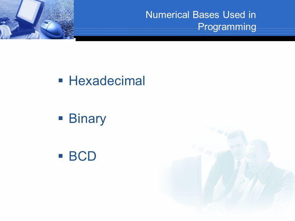 Numerical Bases Used in Programming  Hexadecimal  Binary  BCD