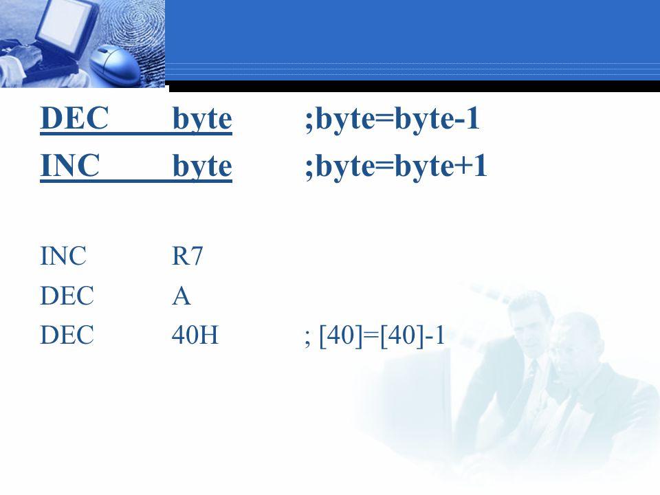 DECbyte;byte=byte-1 INCbyte;byte=byte+1 INCR7 DECA DEC40H; [40]=[40]-1