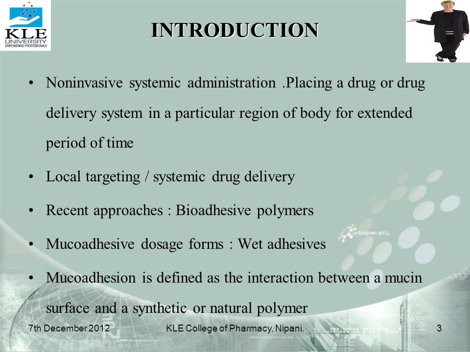 INTRODUCTION Noninvasive systemic administration.Placing a drug or drug delivery system in a particular region of body for extended period of time Loc