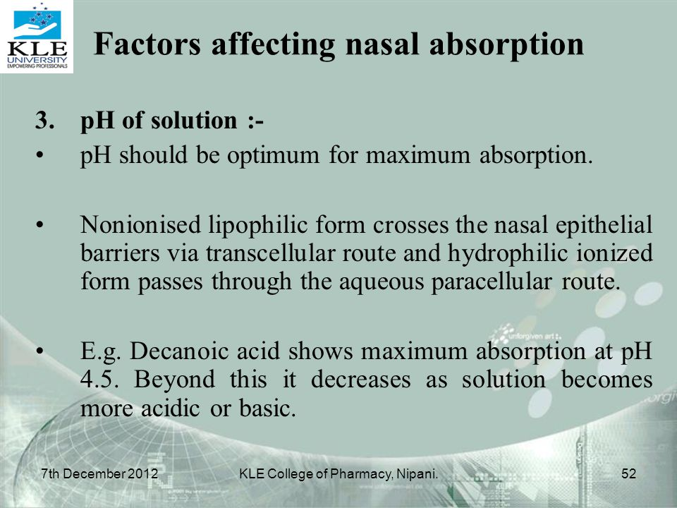 3.pH of solution :- pH should be optimum for maximum absorption. Nonionised lipophilic form crosses the nasal epithelial barriers via transcellular ro