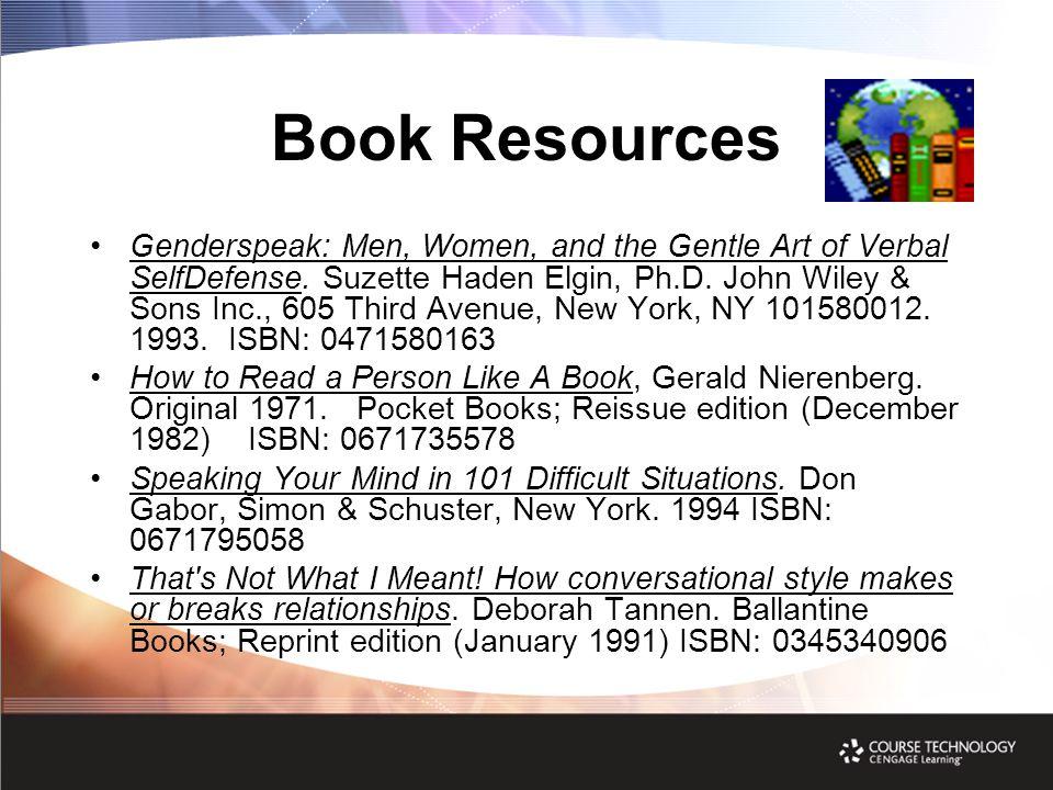 Book Resources Genderspeak: Men, Women, and the Gentle Art of Verbal SelfDefense.
