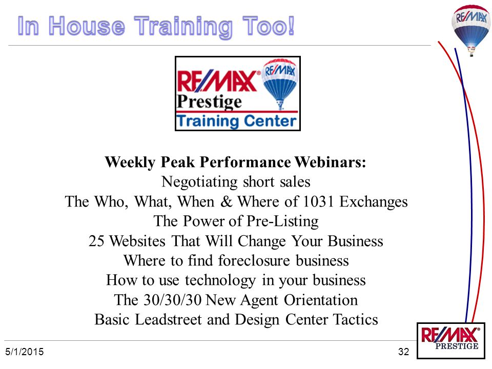 5/1/201532 Weekly Peak Performance Webinars: Negotiating short sales The Who, What, When & Where of 1031 Exchanges The Power of Pre-Listing 25 Website