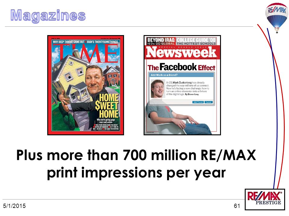5/1/201561 Plus more than 700 million RE/MAX print impressions per year
