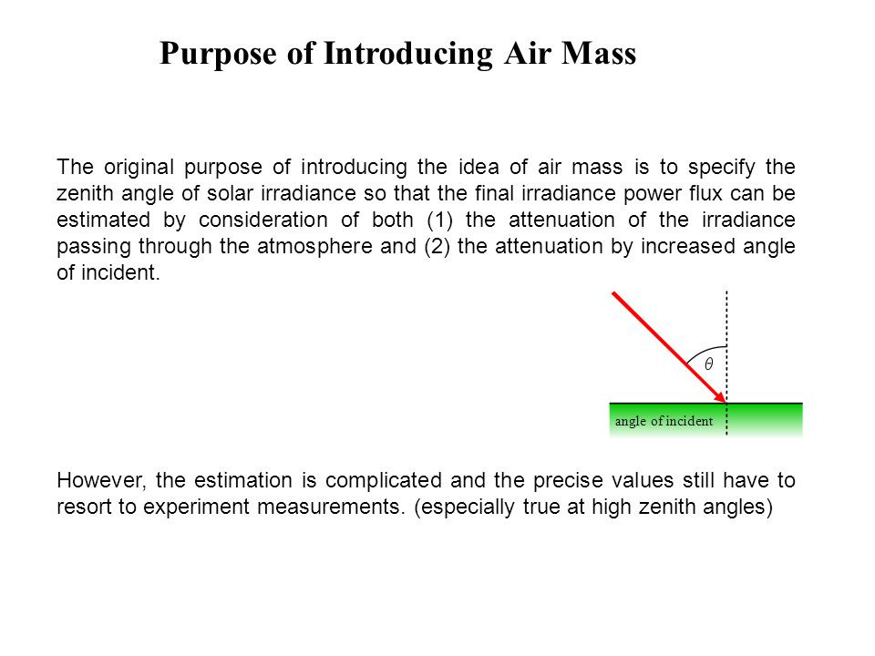 Purpose of Introducing Air Mass The original purpose of introducing the idea of air mass is to specify the zenith angle of solar irradiance so that th