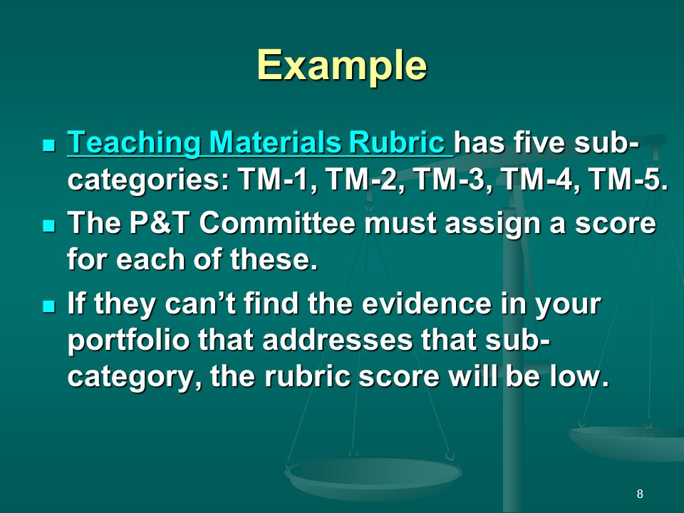 Example Teaching Materials Rubric has five sub- categories: TM-1, TM-2, TM-3, TM-4, TM-5. Teaching Materials Rubric has five sub- categories: TM-1, TM