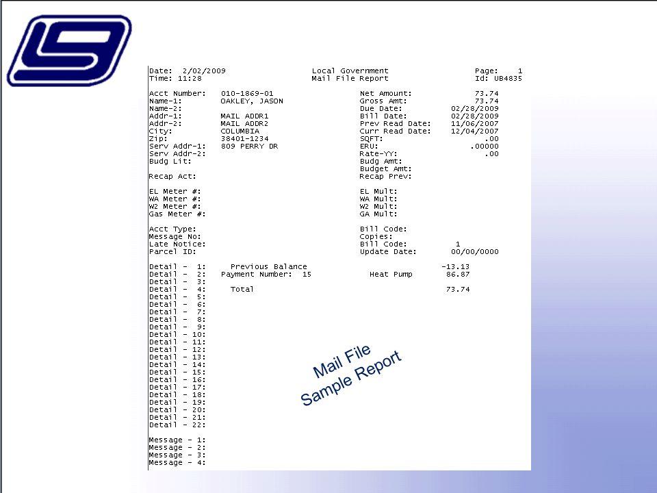 Mail File Sample Report