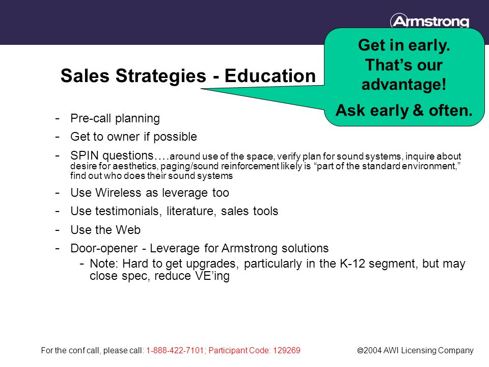 For the conf call, please call: 1-888-422-7101; Participant Code: 129269  2004 AWI Licensing Company Sales Strategies - Education - Pre-call planning - Get to owner if possible - SPIN questions….