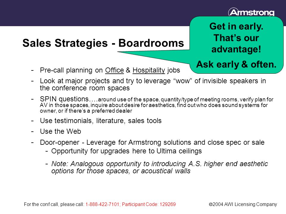 For the conf call, please call: 1-888-422-7101; Participant Code: 129269  2004 AWI Licensing Company Sales Strategies - Boardrooms - Pre-call planning on Office & Hospitality jobs - Look at major projects and try to leverage wow of invisible speakers in the conference room spaces - SPIN questions….