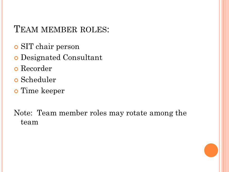 T EAM MEMBER ROLES : SIT chair person Designated Consultant Recorder Scheduler Time keeper Note: Team member roles may rotate among the team