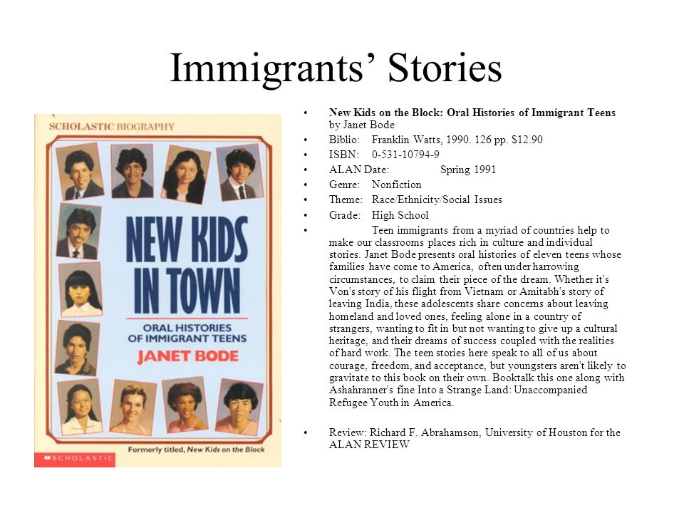 Immigrants' Stories New Kids on the Block: Oral Histories of Immigrant Teens by Janet Bode Biblio:Franklin Watts, 1990. 126 pp. $12.90 ISBN:0-531-1079