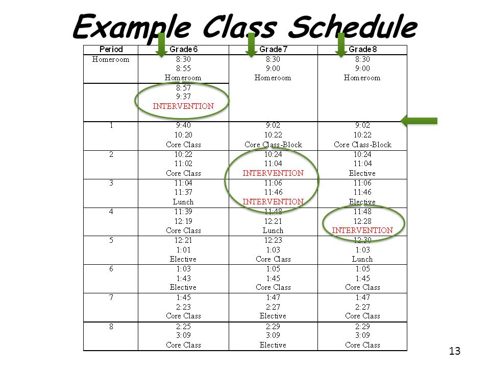 Example Class Schedule 13
