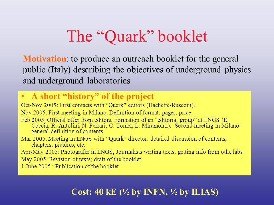 The Quark booklet A short history of the project Oct-Nov 2005: First contacts with Quark editors (Hachette-Rusconi).