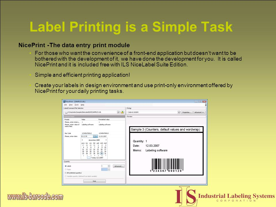 Label Printing is a Simple Task NicePrint -The data entry print module For those who want the convenience of a front-end application but doesn't want to be bothered with the development of it, we have done the development for you.