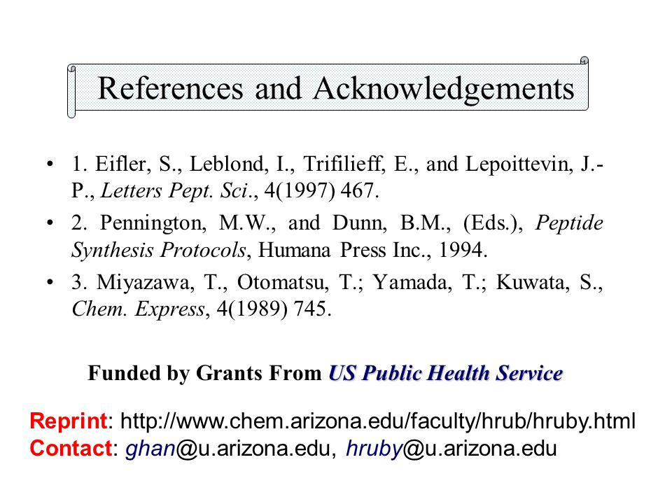 References and Acknowledgements 1. Eifler, S., Leblond, I., Trifilieff, E., and Lepoittevin, J.- P., Letters Pept. Sci., 4(1997) 467. 2. Pennington, M