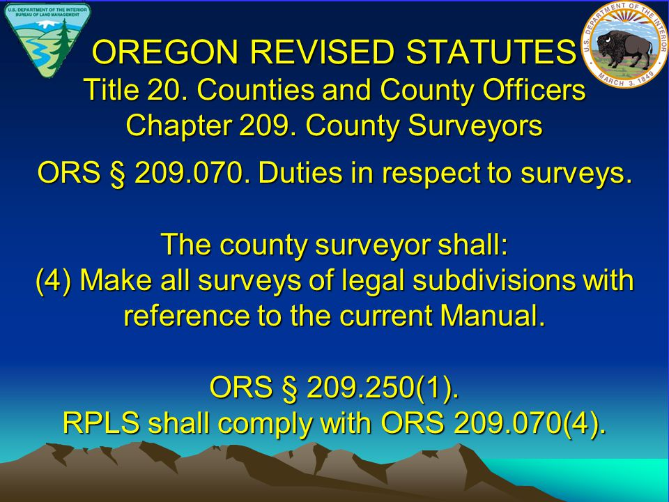OREGON REVISED STATUTES Title 20.Counties and County Officers Chapter 209.
