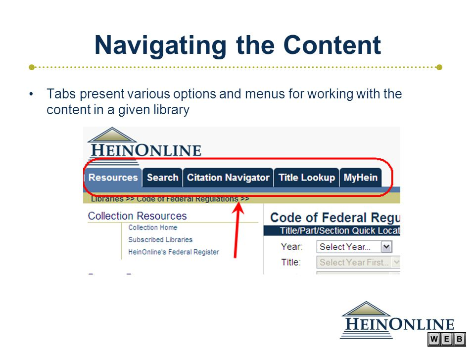 Navigating the Content Tabs present various options and menus for working with the content in a given library