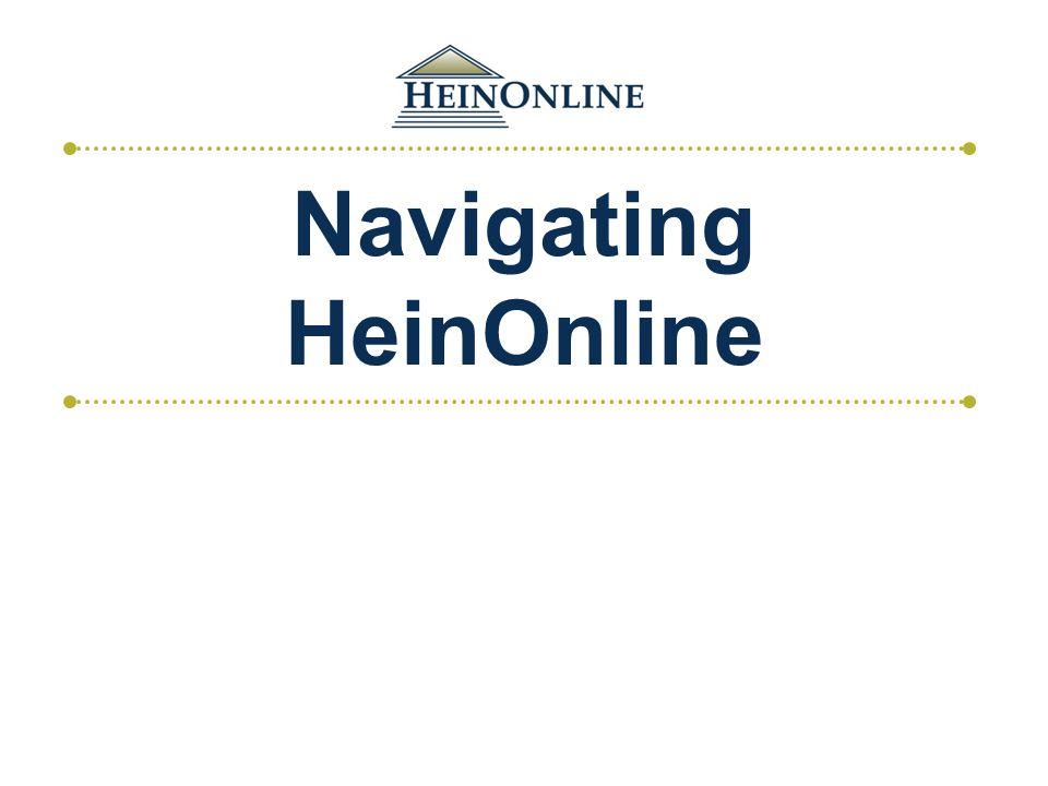 Navigating HeinOnline