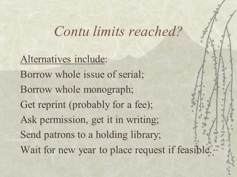 Contu limits reached.
