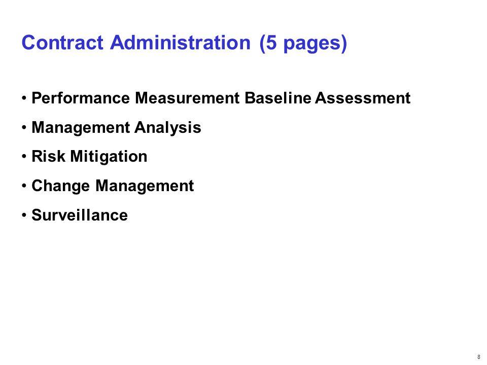 8 Contract Administration (5 pages) Performance Measurement Baseline Assessment Management Analysis Risk Mitigation Change Management Surveillance